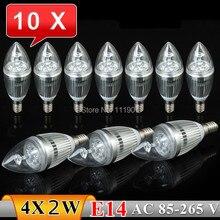10PCS E14 8W Warm White/White LED Candle Crystal Light Bulb Lamp 4x2W Free Shipping