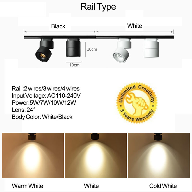 1pcs COB LED Track Light 4 Wires 3 Phase LED Rail Lamps 360 Degree Rotatable LED Track Lighting for Home Stores Shop