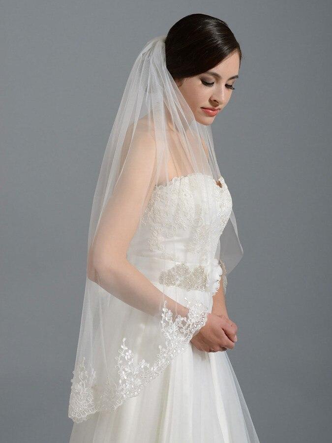 Ivory White Bridal veil Wedding Veil Fingertip Length veils Lace Bridal Veils with Comb Wedding Accessories