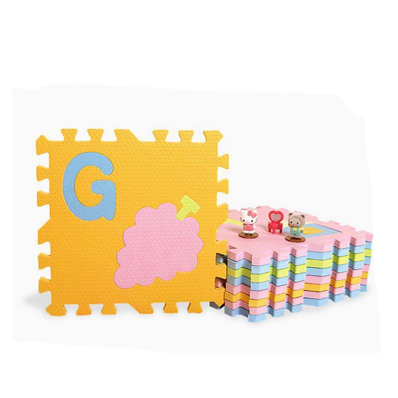 30*30*1.4 cm épaississement EVA dessin animé couleurs sombres et claires bébé ramper plancher tapis de jeu jouet alphabet anglais puzzle - 2