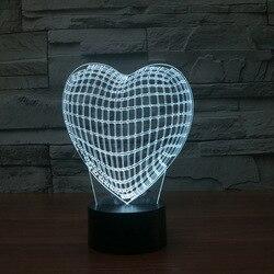 3d Stereo stolik nocny lampy do salonu z w kształcie serca w kształcie serca twórczy powieść prezent urodzinowy Usb lampy stołowe do salonu