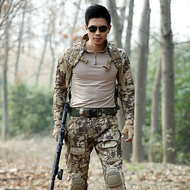 Men Hunting Clothes Military Uniforms Multicam Army Combat Shirt Tactical Pants with Knee Pads Camouflage Clothing Ghillie Suit