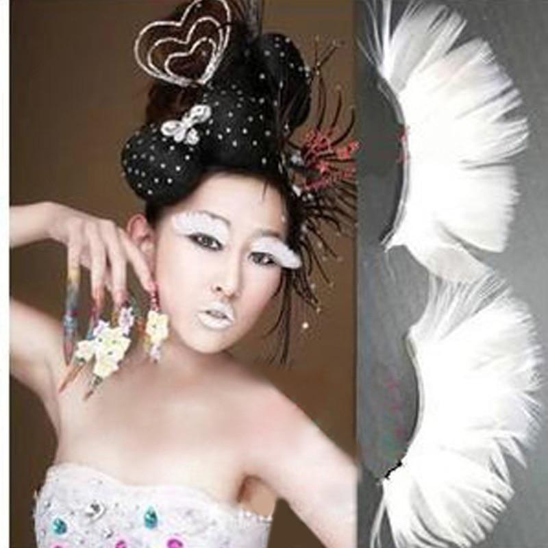 1Pair Halloween Style Natural White Feather False Eyelashes Eyelash Extension Pestanas Postizas Set For Eyelashes