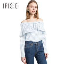 IRISIE Apparel 2017 Women Off Shoulder Blouse Ruffle Long Sleeve Lace Up Female Shirt Plaid Loose Preppy Casual Summer Blouse