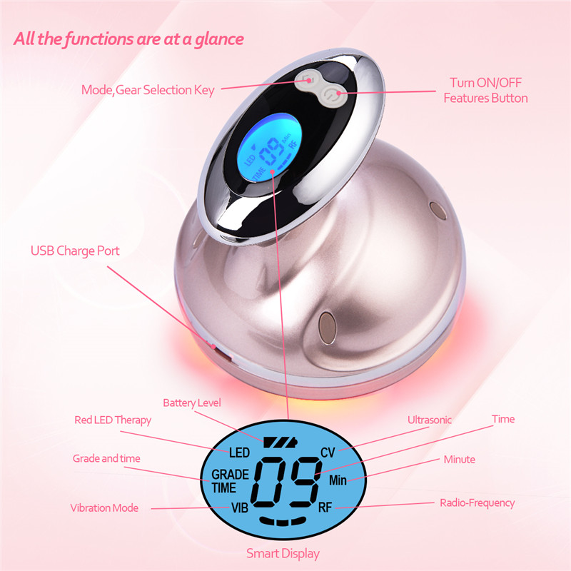 Ultrasonic Facial Body Slimming Massager RF Cavitation Therapy Fat Removal Burner LED Photon Skin Rejuvenation Weight Loss P54
