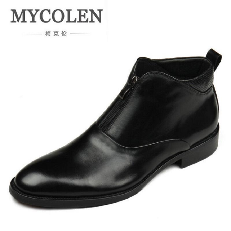 MYCOLEN Brand Quality Genuine Leather Winter Boots Comfortable Black Men Shoes Men Casual Handmade Round Toe Zip Wear Boots mycolen brand genuine leather men shoes handmade autumn winter brand high quality men flats shoes comfortable wear shoes