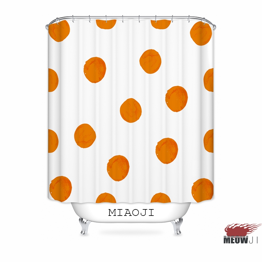 [MIAOJI] U003cTrendy Geometric Patternu003e Warm Orange Passion Bathroom Decor  Custom Fabric Shower Curtain Various Sizes Free Shipping  Orange Shower Curtain