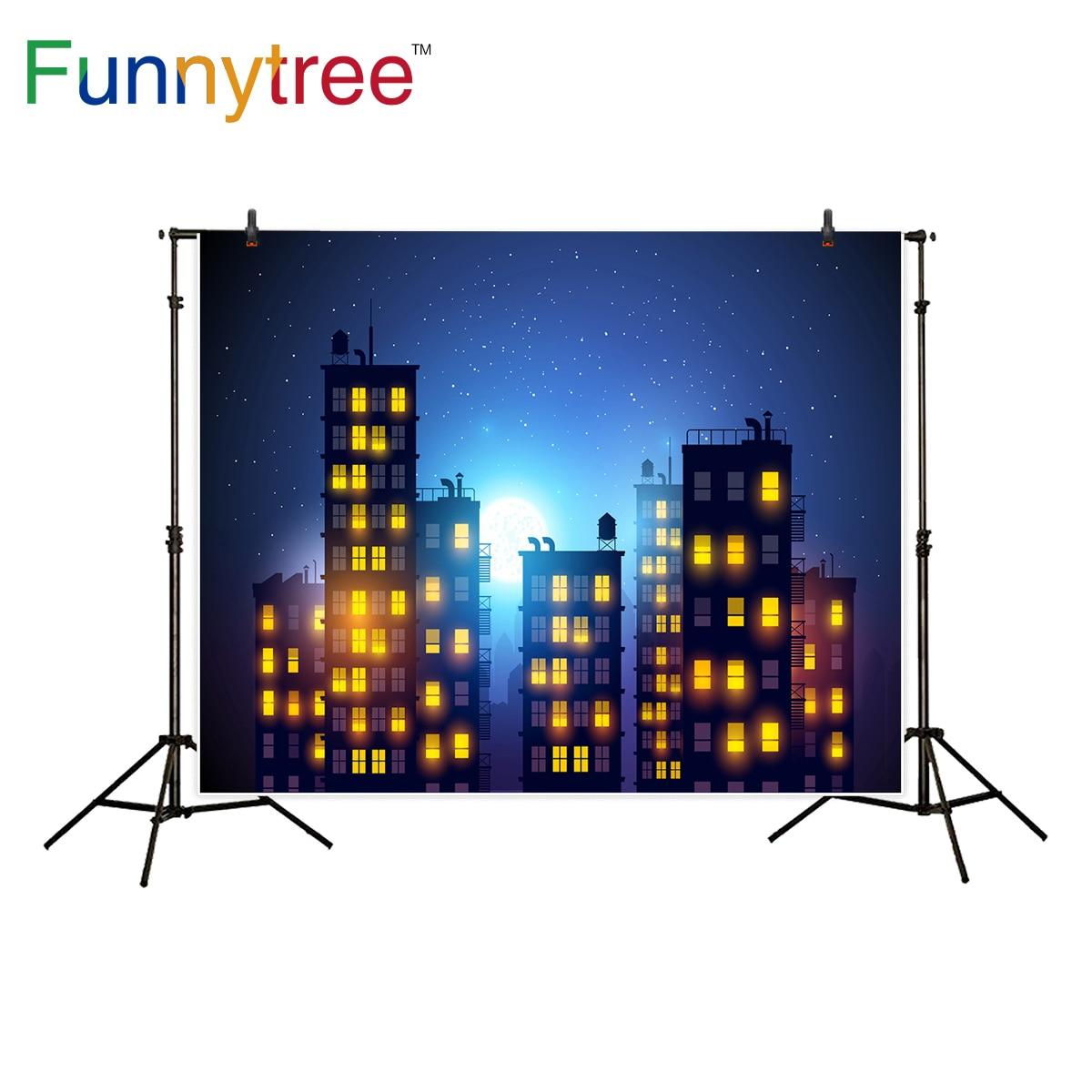 Funnytree background for photo studio city stars night building superhero moon baby shower backdrop photography photobooth
