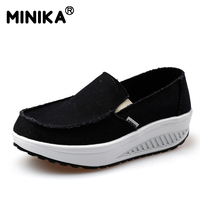 Minika Fashion Low Top Casual Shoes Women Swing Platform Ladies Trainers Shoes Female Zapatos Chaussures Women