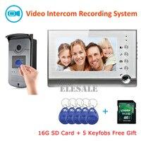 Телефон видео домофон запись RFID Система контроля доступа видео звонок Камера 7 ЖК дисплей монитор Ночное видение + 16G SD карты