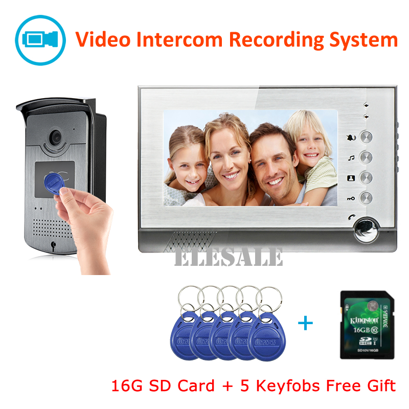 Video Door Phone Intercom Record RFID Access Control System Video Doorbell Camera 7 LCD Monitor Night Vision + 16G SD Card new 7 inch color video door phone bell doorbell intercom camera monitor night vision home security access control