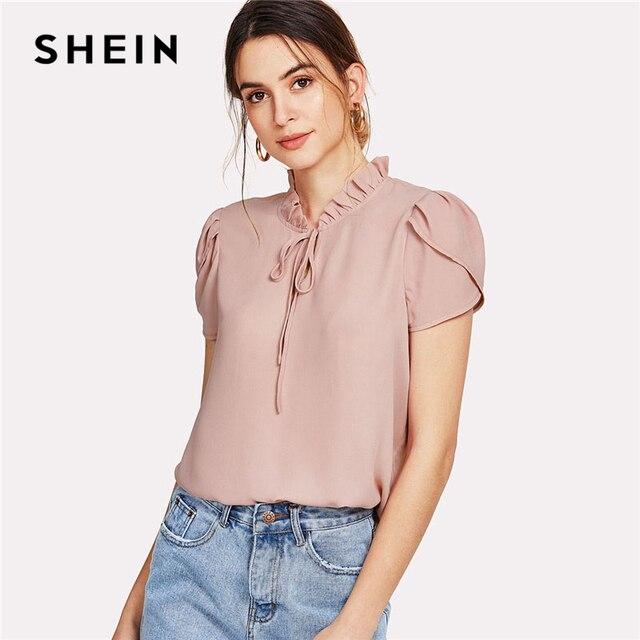 42386a4308 SHEIN Pink Tie Neck Petal Sleeve Top Women Frill Trim Stand Collar Short  Sleeve Plain Blouse 2018 Summer Elegant Work Blouse