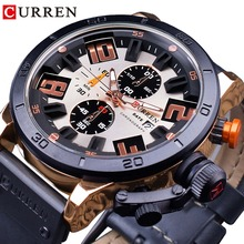 CURREN Sport Racing Design Black Genuine Leather Belt Chronograph Military Mens Quartz Wrist Watches Top Brand Luxury Male Clock