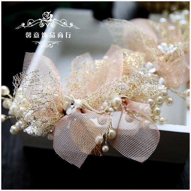 Korean silk yarn flower bride headdress beauty bride wedding hair accessories pink hair ornament