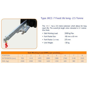 Hot sale Forklift accessories Forklift attachment JXCC-7 fixed jib long-2.5Tonne