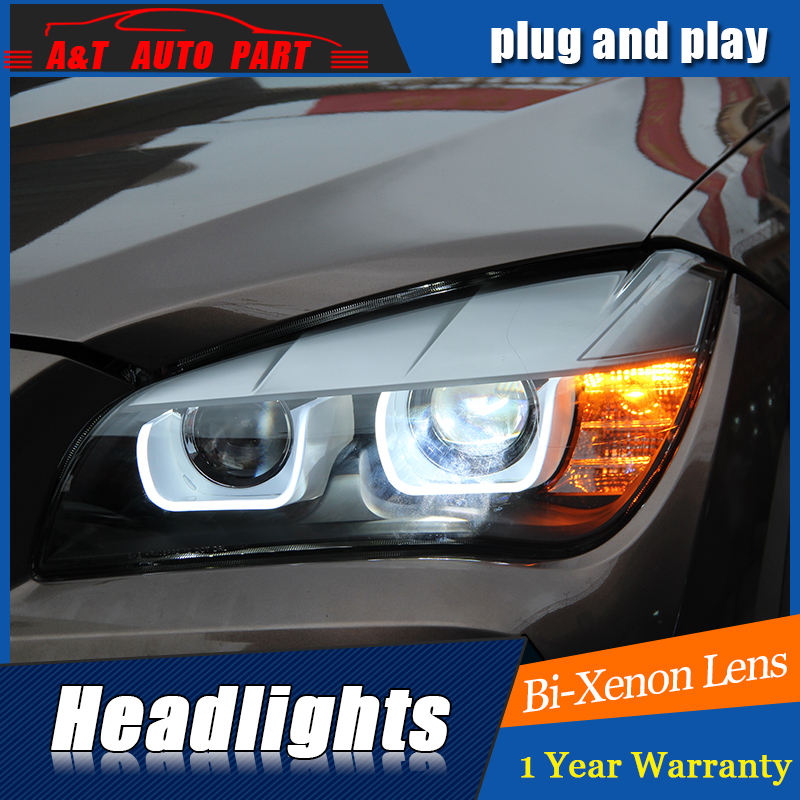 Car Styling LED Head Lamp for BMW E84 Headlights X1 LED Headlight 120 125 angel eye