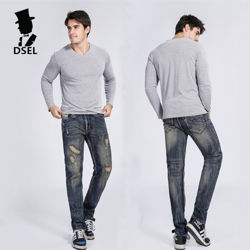 High Quality Jeans Men Slim Fit Denim Patch Jeans Ripped Trousers Male Dsel Brand Mens Jeans With Logo 704 patch jeans ripped trousers male slim straight denim blue jeans men high quality famous brand men s jeans dsel plus size 5704