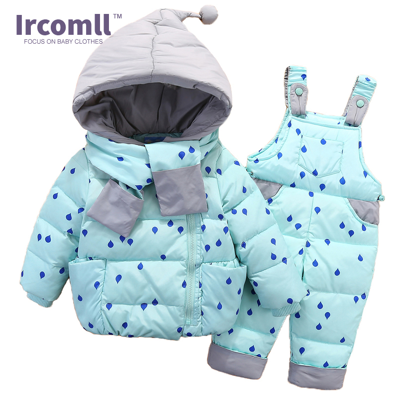 Ircomll Winter Clothing Set For Boys Girls Dots Dark Down Coat +Overalls Suits Warm Windproof Snowsuit Toddler Children Suit 2016 winter boys ski suit set children s snowsuit for baby girl snow overalls ntural fur down jackets trousers clothing sets