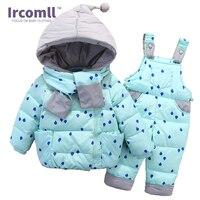Ircomll Winter Clothing Set For Boys Girls Dots Dark Down Coat +Overalls Suits Warm Windproof Snowsuit Toddler Children Suit