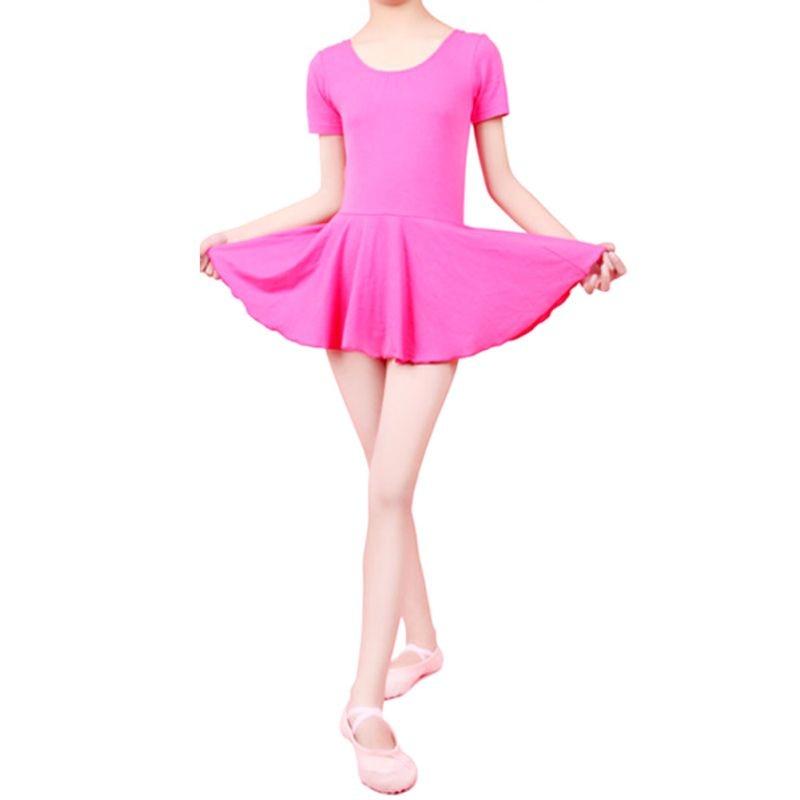 Kid Girls Short Sleeve Leotard Gymnastics Cotton Ballet Dance Dress Dancewear