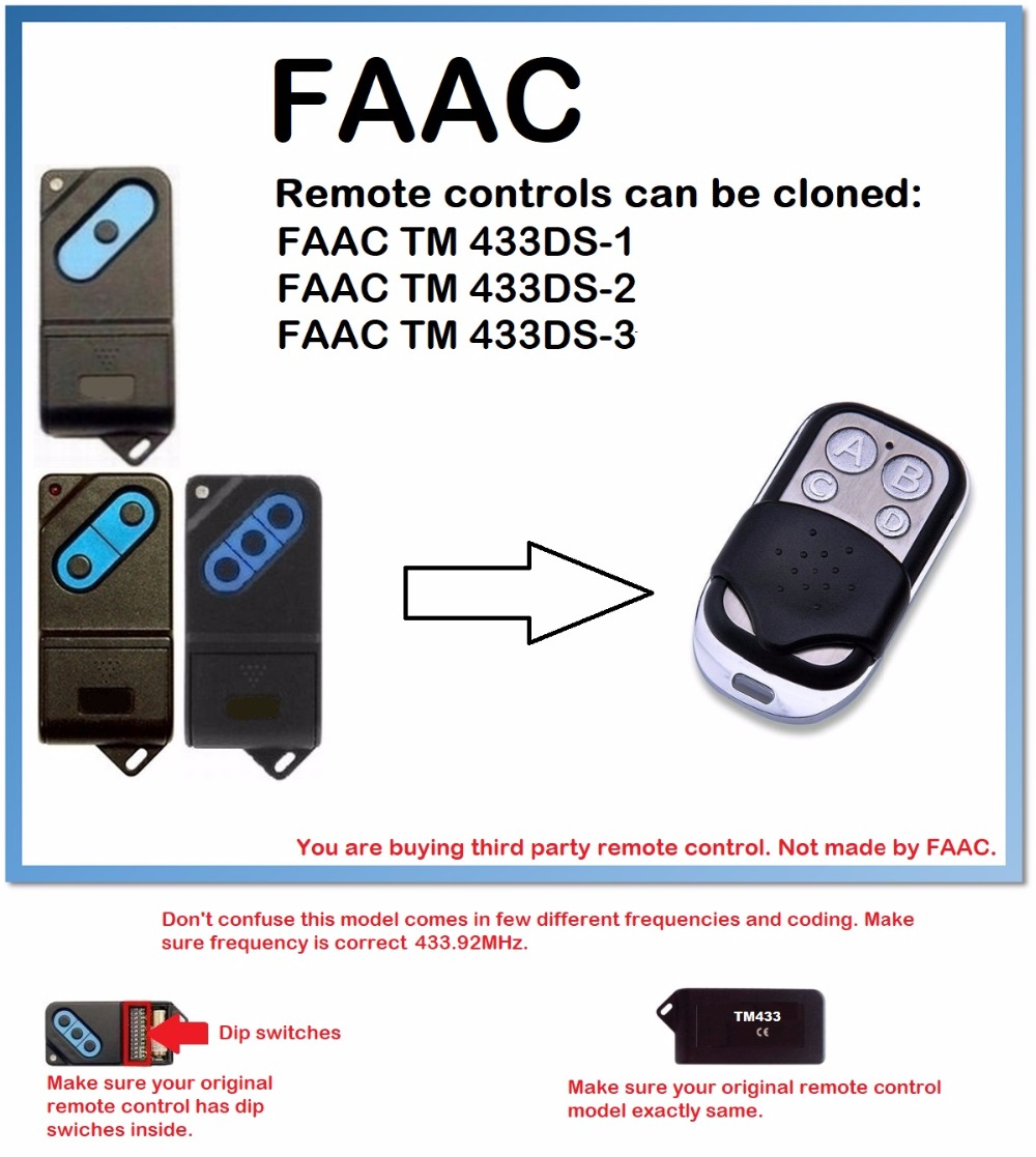 FAAC TM 433DS-1, 2, 3 Universal Remote Control Duplicator 4-Channel 433.92MHz..(only for 433.92mhz fixed code)FAAC TM 433DS-1, 2, 3 Universal Remote Control Duplicator 4-Channel 433.92MHz..(only for 433.92mhz fixed code)