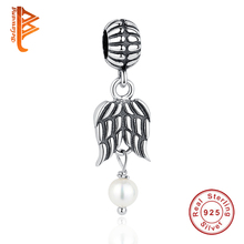 BELAWANG Authentic 925 Sterling Silver Wing Feather Charms Imitation Pearls Beads Fit Original Bracelet Necklace Women Jewelry