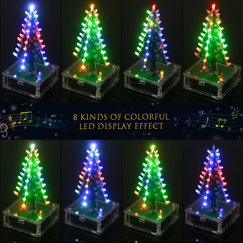 KKmoon DIY Christmas Tree Colorful LED Light Acrylic with Music Electronic Learning Kit Module Xmas decoration