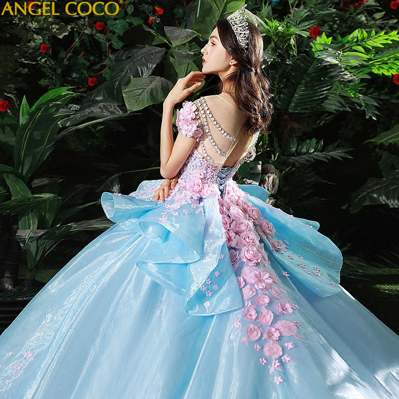 4fca769e4431a High-end Custom Wedding Dress Maternity Romantic Pregnant Women Noble Long  Blue Elegant Bridal Evening