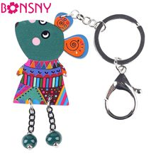 Bonsny 2015 Brand Mouse Marvel Acrylic Key Chain For Keys Women Girl Decorative Keychain Charm Pendant Jewelry Aceessories(China)