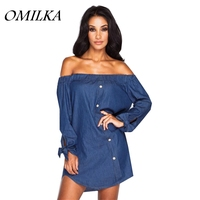 OMILKA 2018 Summer Women Long Sleeve Off the Shoulder Denim Jeans Shirt Dress Casual Blue Loose Boyfriend Streetwear Mini Dress