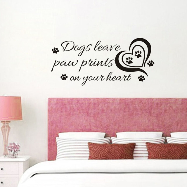Dog paw prints and hearts vinyl wall sticker quote wall dogs leave paw prints on your
