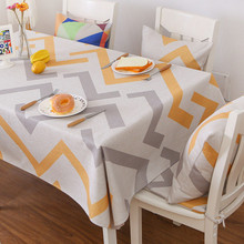 Geometric Tablecloth Gray Orange Home Decorative Rectangular Waterproof Table Cloths Linen Modern Coffee Cover Stripes