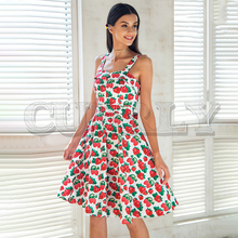 CUERLY Print strap midi summer dress women Causal sash princess Spring party wear cut girl vestidos 2019 robe femme