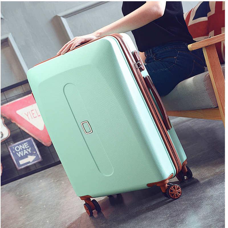 Лидер продаж! 20 22 24 ABS + PCpolular чемодан с колесами для девочек розовый Роллинг багажа дорожная сумка Тележка Сумки женские чемоданы ...