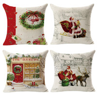 4PCS Christmas Linen Square Throw Flax Pillow Case Decorative Cushion Pillow Cover Pesadilla Antes De Navidad Weihnachten
