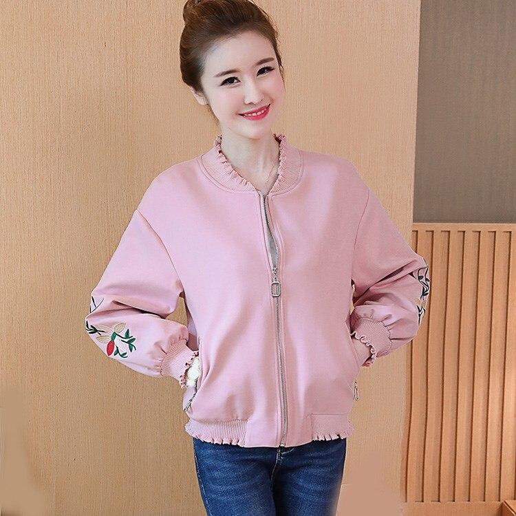 Floral Embroidery Bomber   Jacket   Zippers Women Harajuku Short   Jacket   2018 Casual Ruffle Lantern Sleeve   Basic     Jackets   Coat