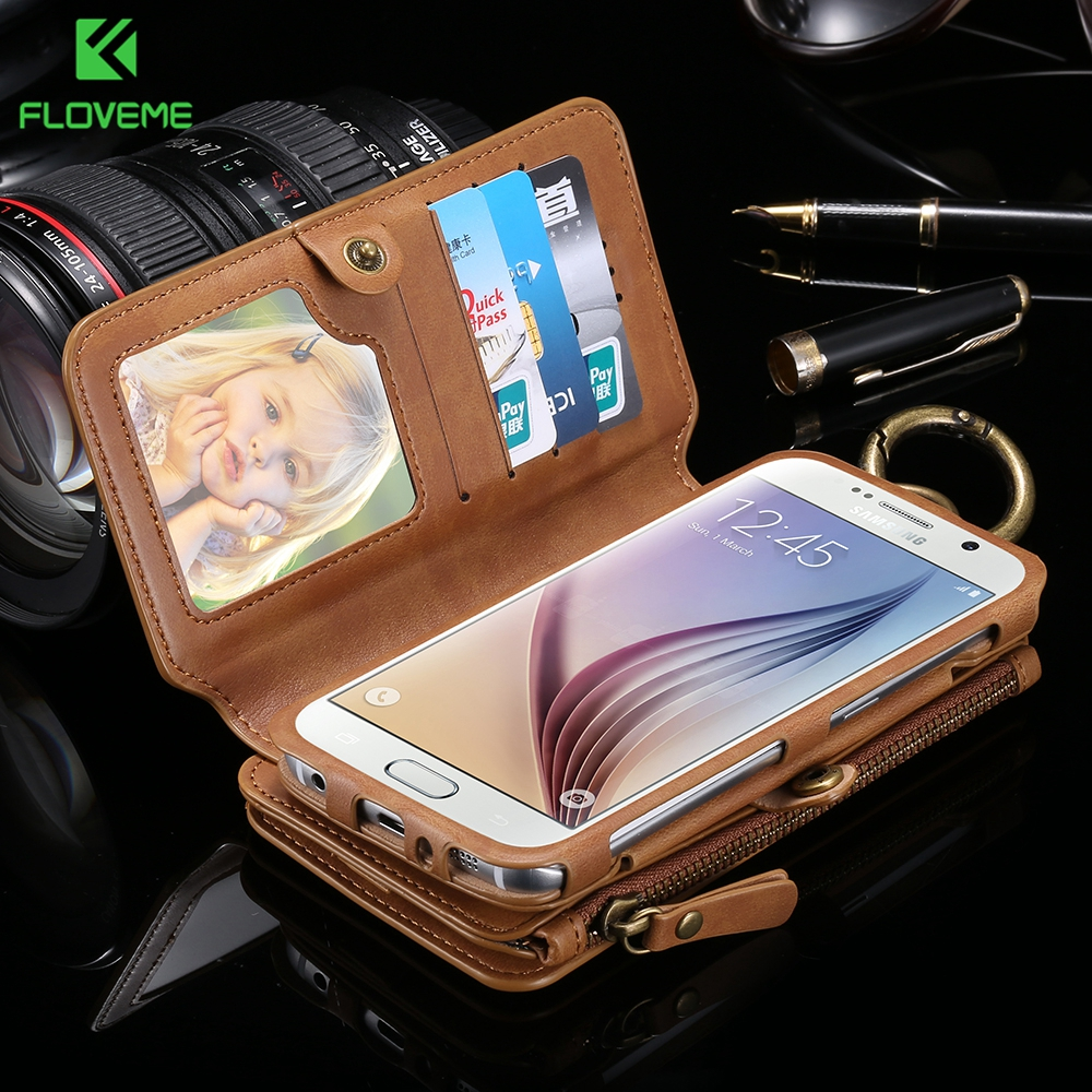 FLOVEME Folded Wallet Case For iPhone 7 7 Plus 6 6S Plus 5S Phone Bag Cases PU Leather Multi Pouch Card Purse Bag for iPhone 5