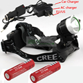 Bicycle light headlamp 1800 Lumens CREE XM-L T6 LED Headlamp Headlight + 2 x 18650 Rechargeable battery + AC Charger Car charger