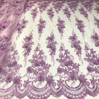 Free Shipping 5yards Pc Good Quality 3D Flowers African French Net Lace Fabric In Lilac Purple