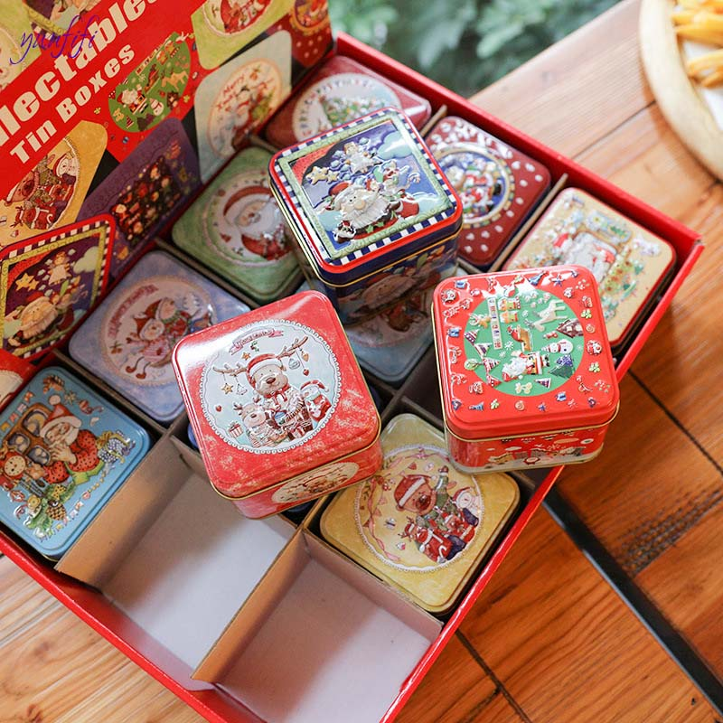 12pcsSquare Christmas Candy Gift Tin Box New Year Kids Gift Packing Box Christmas Santa Claus Baking biscuits Printed Sealed Jar