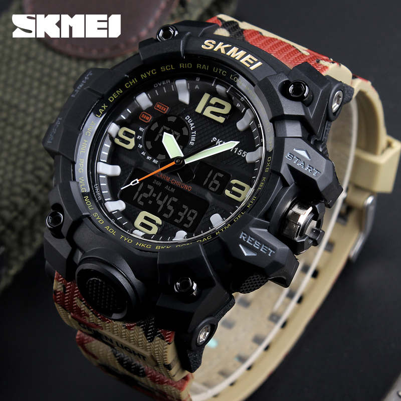 SKMEI Big Dial Dual Time Display Sport Digital Watch Men Chronograph Analog LED Electronic Wristwatch Military Double Time 1155 skmei 1049 50m waterproof solar dual movement dual time zone men s sport watch black blue