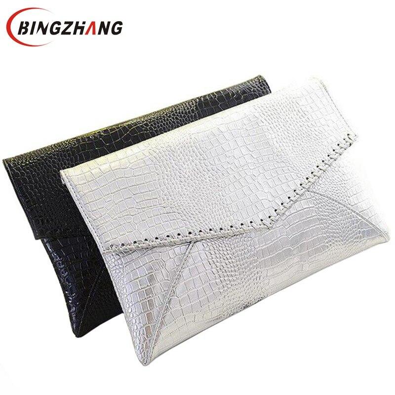 2019 hot fashion serpentine pattern silver day clutch envelope women's handbag fashion for Crocodile shoulder bag L4-662
