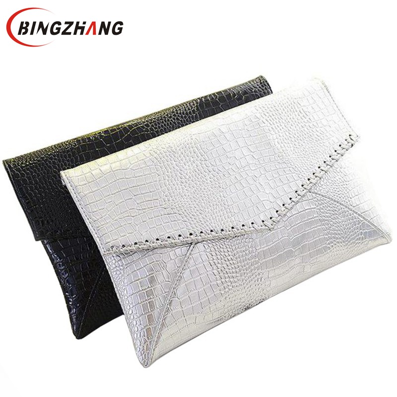 2019 Hot Fashion Serpentine Pattern Silver Day Clutch Envelope Women's Handbag Fashion For Crocodile Shoulder Bag L4-662