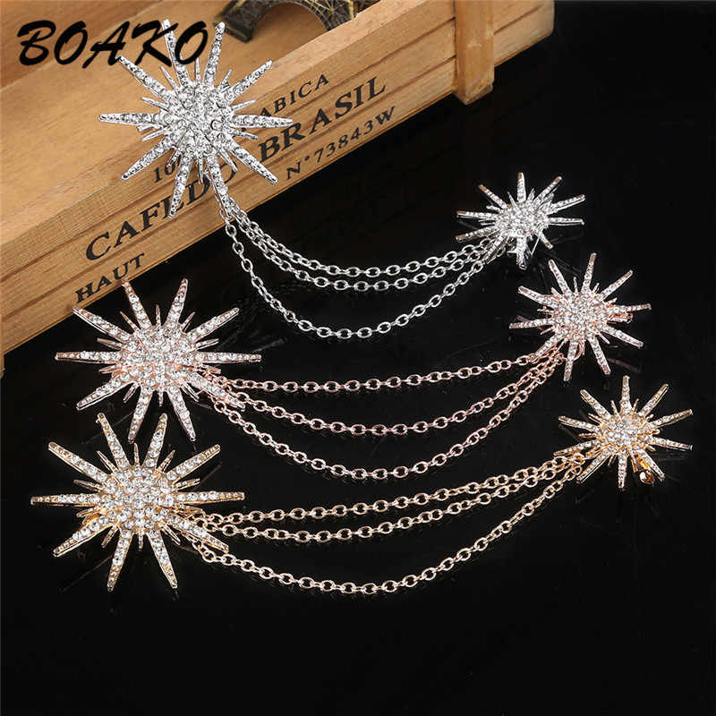 BOAKO Shining Crystal Snowflake Double Chain Tassels Brooch Women's Alloy Rhinestones Scarf Buckle Collar Pins Brooch Clip Badge