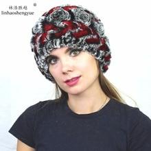 Linhaoshengyue Real fur fashion  Rex rabbit fur women cap  hat  with flower  winter warm  freeshipping