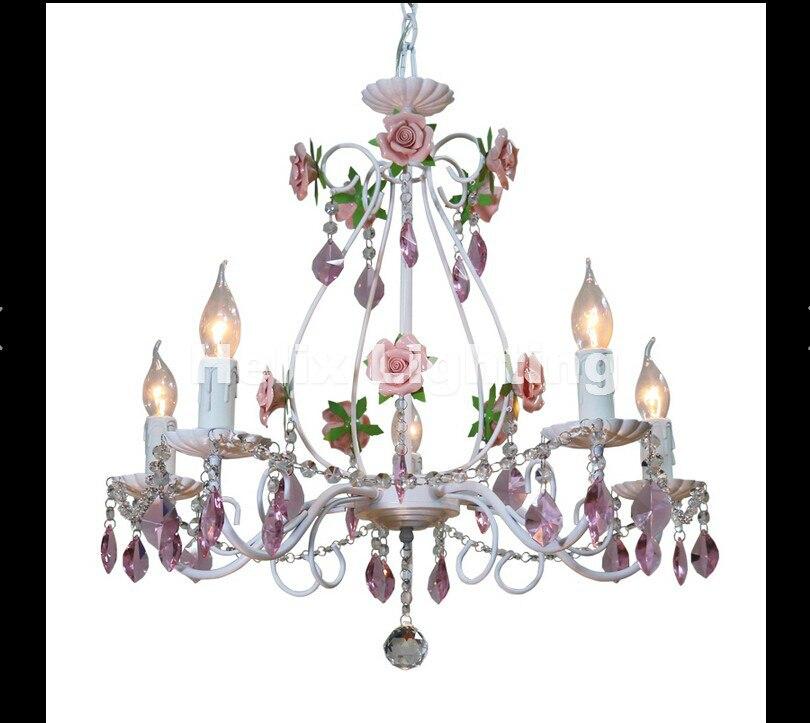 Nouvellement blanc européen Lustre lampe Lustre lumière 3L/5L/8L Rose Rose fleur luminaire E14 décor Lustre livraison gratuite