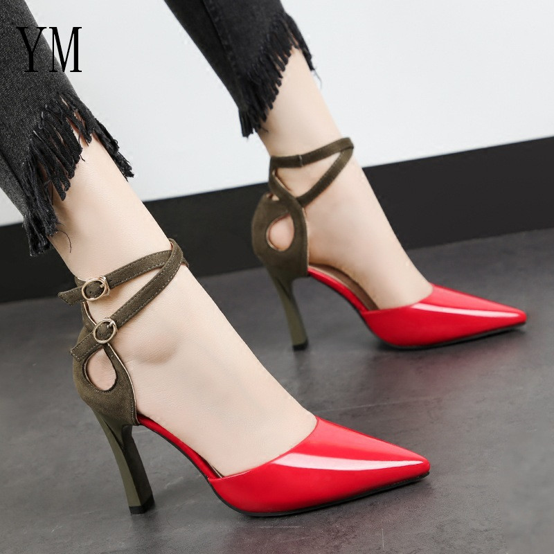Spring Sweet Sandalias Red/Black Femeninas High Heels Pumps Pointed Toe Sexy Female Summer Shoes Mujer Zapatos Mujer Pumps 2019
