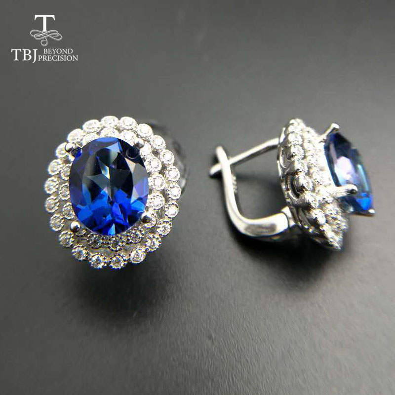 TBJ,2018 Clasp earring with mystic tanzanite color topaz in 925 sterling silver jewelry,natural gemstone earring,classic design tbj 2017 clasp earring with natural brazil aquamarine in 925 sterling silver jewelry natural gemstone earring classic design