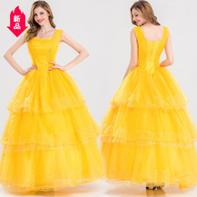 Женская Мода Горячая Распродажа Красавица и Чудовище Принцесса Белль косплей платье