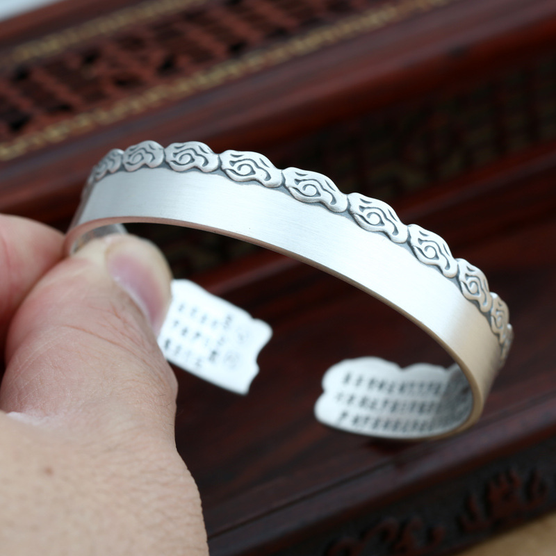S990 Full Silver Jewelry Plain Silver Frosted Plain Heart Silver Lady Simple Open Ended Sterling Silver Bangle Men And Women men button decoration plain tee